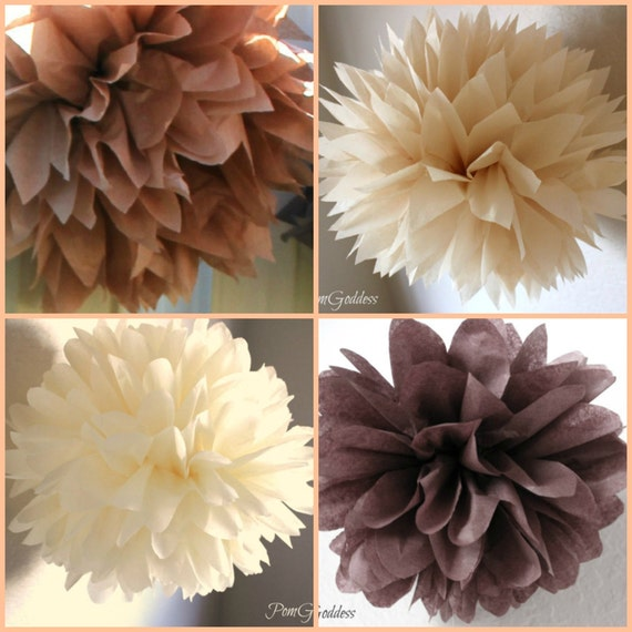 8 Paper Poms Rustic Wedding Decorations Ceremony Decor