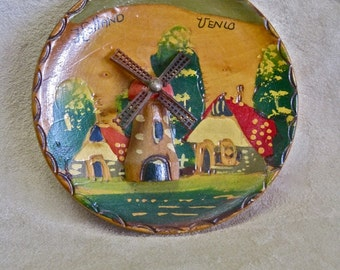 Venlo Holland Wood Hand Painted Souvenir Wall Hanging Windmill Spins Scenic Vintage 50s Mid Century