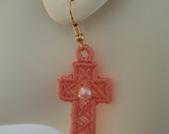 SALE Med Peach Lace Cross Charm with Pearl Bead Earrings