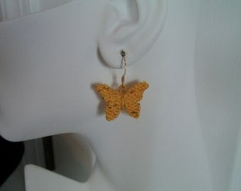 SALE Yellow Potpourri Butterfly Lace Charm Earrings