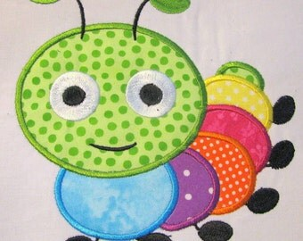 Cute Crawling Bug 04 Machine Applique Embroidery Design - 4x4, 5x7 & 6x8