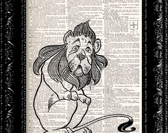 Wizard Of Oz - Cowardly Lion - Frank Baum - Dictionary Print Vintage Book Print Page Art Upcycled Vintage Book Art