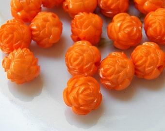 16mm Orange Acrylic Rose Beads, 6 PC (INDOC13)
