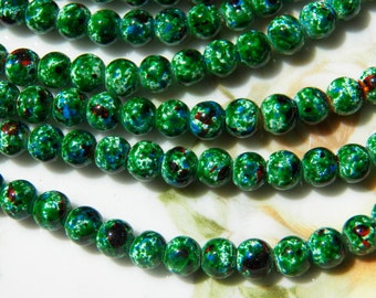 6mm Green, White, Blue & Red Brown Mottled Glass Beads, 50 PC (INDOC167)