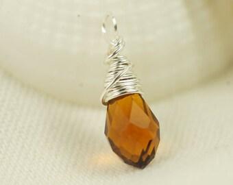 Wire Wrapped Briolette Topaz Briolette Glass drop single pendant