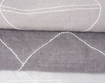"""WINTER: set of 3 grey linen napkins (13 x 19"""") with embroidery in three designs (landscape, bubbles, stars)"""
