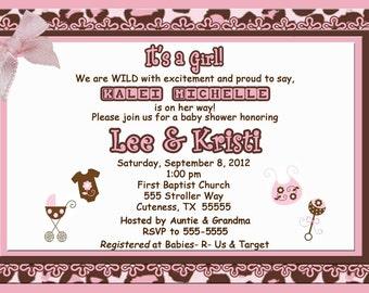 Cheetah print baby girl shower or birthday custom invitation jpeg file for you to print