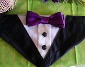 TUXEDO COLLAR Bandana Black with Purple Bow Tie  - Dog Puppy Cat Pet