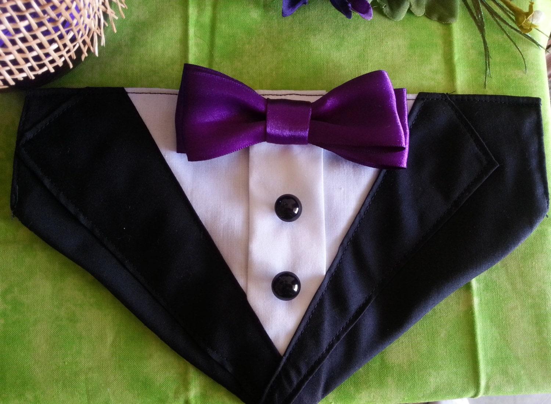 Tuxedo Collar Bandana Black With Purple Bow Tie Dog Puppy
