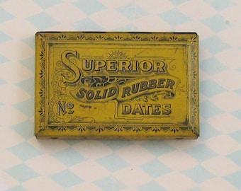 Vintage Superior Solid Rubber Stamp Dates Tin