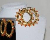 Beaded Wire Crocheted Hoop Earrings, Gold Wire Crochet Earring, Gemstone Beaded Hoop Earrings, Crochet Wire Jewelry, Carnelian, Red Orange