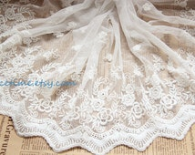 Cotton Fabric Lace Trim - Scalloped Lace Tirm Floral Pattern for Home Decor Dress Altered Couture Supplies