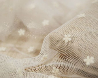 SALE Dot Gauze Lace Fabric, Beige French Gauze Lace, Lovely Dotted Floarl Lace Fabric - Fabric by Yard