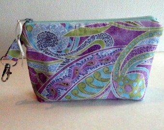 Fabric Gadget Pouch Cosmetic Bag Zipper Pouch Makeup Bag Cotton Zip Pouch Lavender and Blue  Paisley