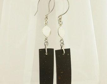 Coconut Shell Sterling Silver Earrings