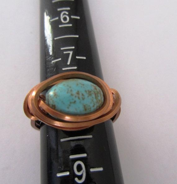 RESERVED FOR TANDRA - Blue Green Barrel Magnesite Copper Ring