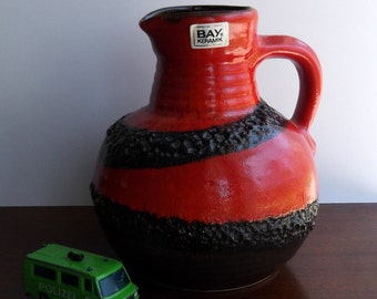 Bay Keramik Fat Lava West German Pottery Vase Red w Lava Swirls
