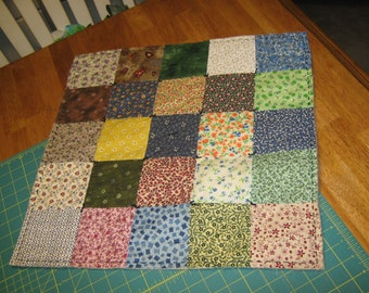 "PATCHWork Lg VARIETY Scrappy  19"" Square Double-Sided Table Mat Quilted Runner Candle Country FolkArt Primitive"