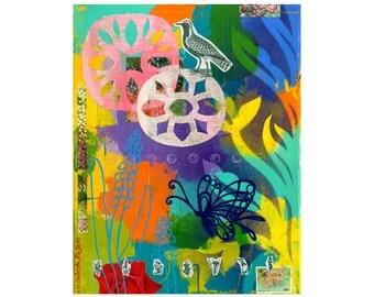 collage type impasto 8x10 PRINT abstract bird GARDEN PARTY flowers   by Elizabeth Rosen