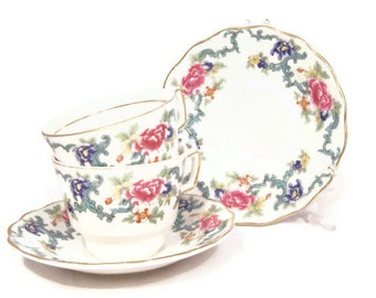 "Vintage Royal Doulton Booths ""Floradora"" Tea Cup and Saucer, 1980s, English Fine Bone China, UK Seller"