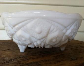 Vintage Milk Glass Round Bowl- 3 Feet