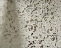 Off White Bridal lace fabric, alencon lace fabric, vintage floral lace fabric, wedding lace fabric, wedding table cloth