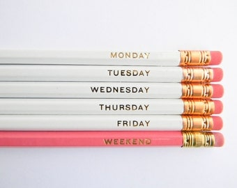 Hello Weekend Pencils - White, Pink & Gold, Set of 6, Stocking Stuffers