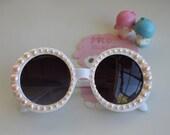 Light Peach Pearls on Oversize White Round Mod Sunglasses