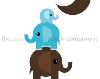 To the Moon and Back Elephants 5x7 Print (you choose your colors)