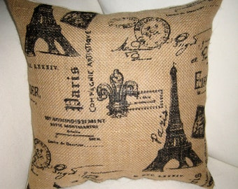 French Pillow, Burlap Pillow,  Eiffel Tower Script Cushion, French Country Decor, Shabby Chic Cushion, Paris Home Decor, Eiffel Tower