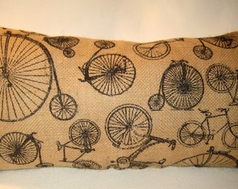 French Bicycle Bike Burlap Pillow, French Country Shabby Chic Neutral Lumbar Cushion for the Bike Lover, Paris Inspired Home Decor