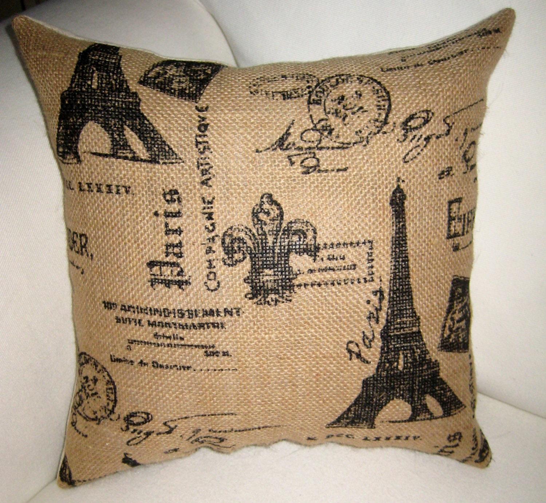 French Pillow Burlap Pillow Eiffel Tower Script Cushion