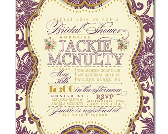 Bridal Shower Invitation Classic Plum and Gold Damask Bridal Wedding Typography Poster Printable Digital or Printed - Jackie Style
