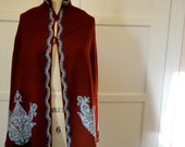 RESERVED FOR SARAH handmade cape vintage embroidered wool