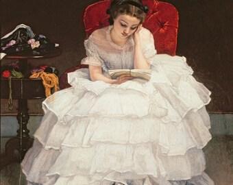 Fine Art Print of Beautiful Girl in Ruffled White Dress Reading a Book