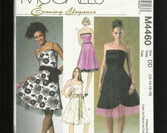 McCalls 4460 Party Dresses Princess Seams Strapless Flared Skirt Size 12-18 UNCUT