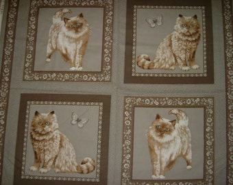 Cats Cotton Cushion Panel Fabric