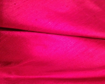 Beautiful Magenta Smooth Indian Silk Dupion Slub Fabric Fat Quarter