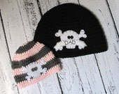 Parent and Child Skull Hat Set - One size for Dad/Mom and size Newborn Baby to Teen