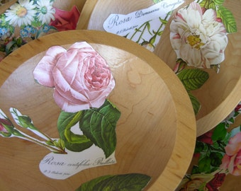 A Set of Three Vintage Wooden Primitive Dough Serving Bowls That Have Been Decoupaged With Vintage Floral Paper Ephemera