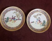 "Hand Painted Decorative Vintage Beautiful Asian Ladies Pair Wall Hanging Plates 10"" Round"