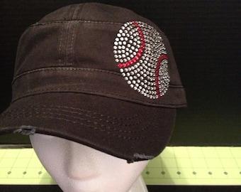 Baseball Rhinestone Embellished Military Style Cotton Hat