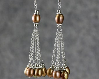Brown Pearl linear long danling earrings bridesmaids gifts Free US Shipping handmade Anni Designs