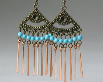 Turquoise copper wiring dangling chandelier earring bridesmaids gifts Free US Shipping handmade Anni Designs
