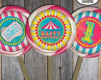"Carnival Party - Circus Party - Lollipop Labels Stickers (3.5"" Round) - Pink Blue Yellow - Customized Printable (Girl, Vintage, Big Top)"