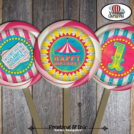 carnival party circus party lollipop labels stickers