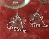 Mr and Mrs Wine Glass Charms, customized wine glass charms, Bridal Party, diamonds, wine glass tags, Wedding Shower Decorations