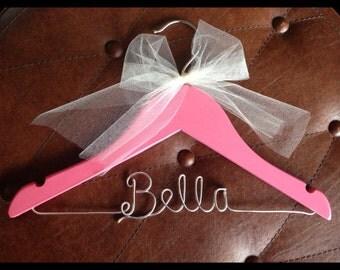Personalized hanger, Childrens hanger, kids hanger, flower girl hanger, wedding hanger, wire hanger, bridesmaid, gift