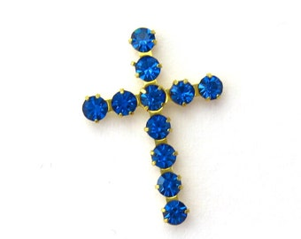 Crystal Cross Charms - 3 Capri BlueCrosses - prong set Austrian Crystal findings Jewelry Supplies Embellishments Charms