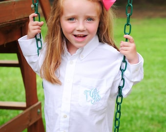 Blank, No Monogram YOUTH SIZE Flower Girl/ Jr.Bridesmaids Monogrammed Button Down Shirts